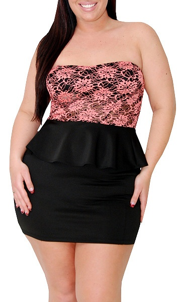 Gratify (Plus/Black/Coral)-Great Glam is the web's best sexy plus size online store clothing website for 1X 2X and 3X clothes for women and juniors.