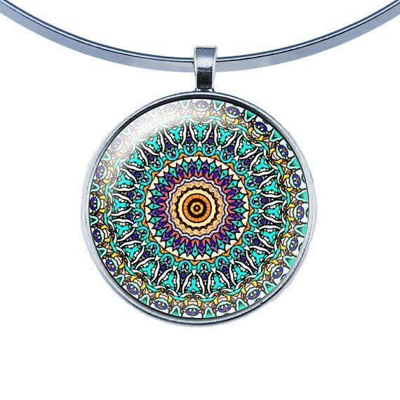 Silber-Kuppel Glas Halskette  umschließt Mandala lila von Milacrea