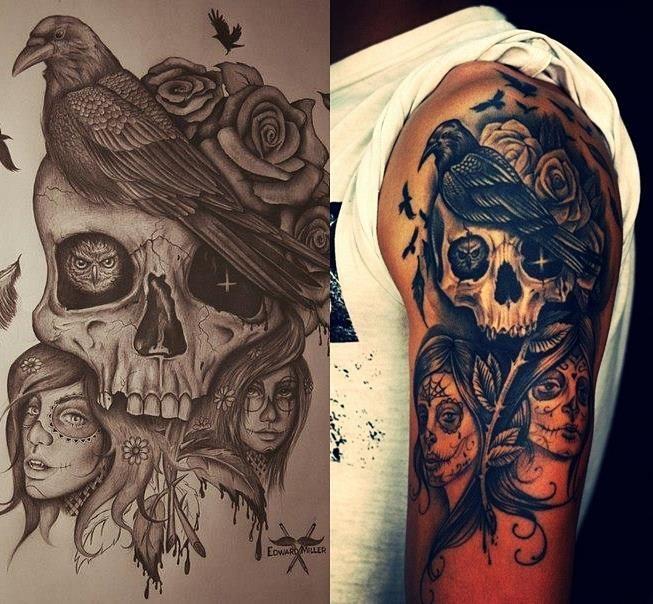 33 besten skull and raven tattoo meaning bilder auf pinterest tattoo designs rabe tattoo. Black Bedroom Furniture Sets. Home Design Ideas