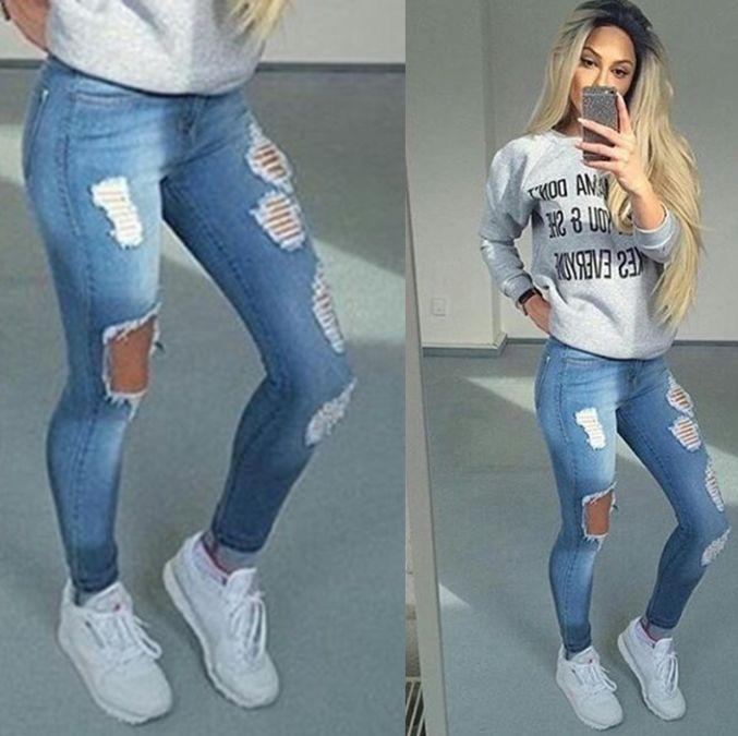 23d62603ad4 Femmes Trou Élastique Skinny Taille Haute Pantalon Slim Crayon Jeans Pieds