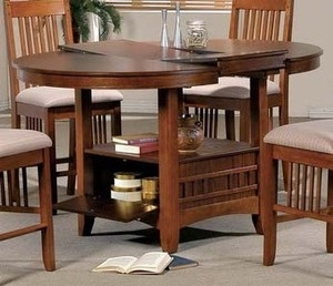 Brown Mission Counter Height Round Butterfly Leaf Table ...