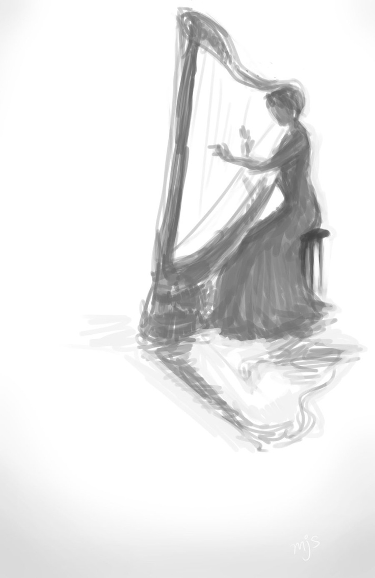 harp sketch: Harpist Sketch, Art Sketch, Sketch Art, Nice Pin, Harp Art, Sketch The Harp, Artsy Music, Harp Recital, Harp Sketch
