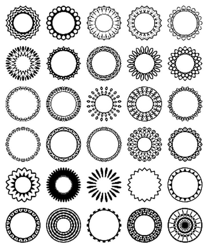 Free Circular Border Shapes for Photoshop and Elements: Circular Design Custom Shape Set 3