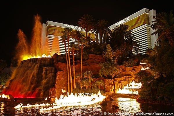 The Mirage Hotel Casino, Las Vegas w/ erupting volcano outside attraction.
