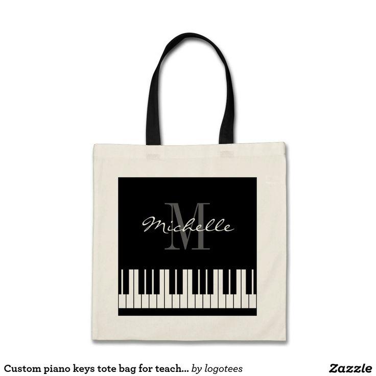 Custom piano keys tote bag for teacher and student
