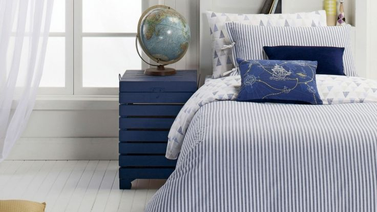 Cooper Blue Quilt Cover Set - Quilt Covers - Bed Linen - Beds & Manchester | Harvey Norman Australia