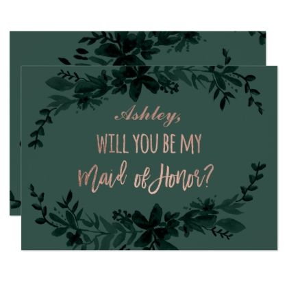 Rose gold script Floral green maid of honor Card - script gifts template templates diy customize personalize special
