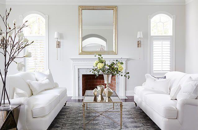 Clean Traditional Design White Room White Linen Sofa