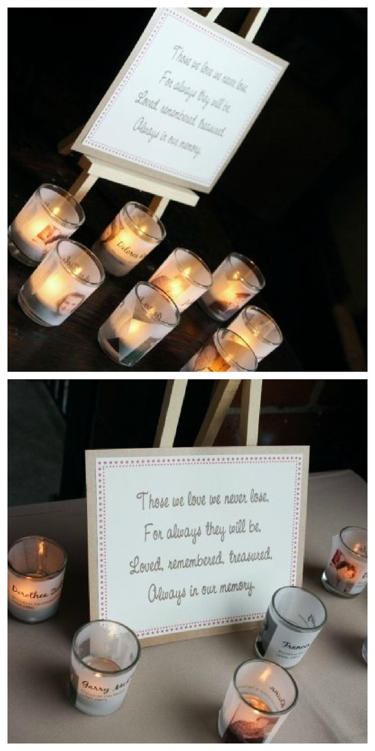 Sew Woodsy Wedding Memory candles. In memory of those lost, but never forgotten. I like how simple this is.