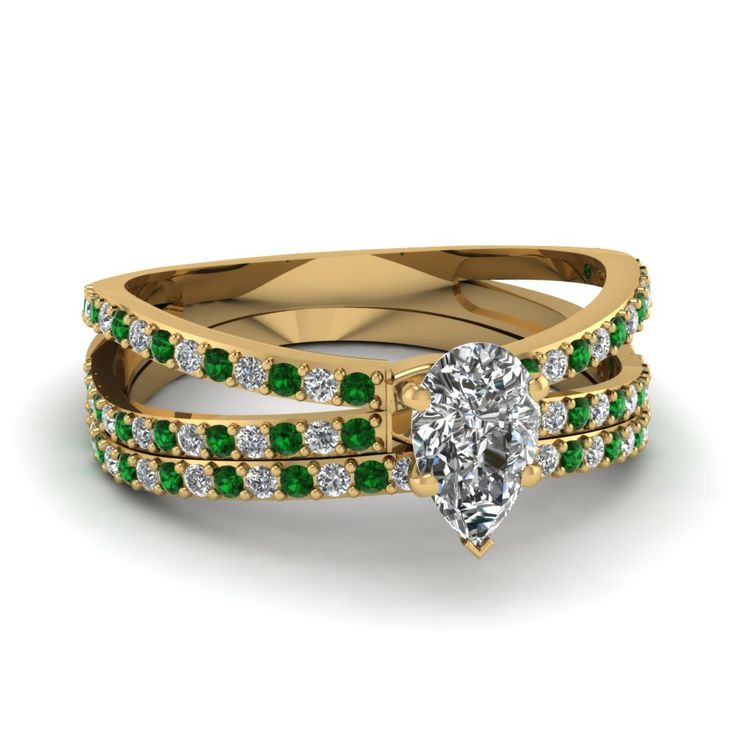 yellow-gold-pear-white-diamond-engagement-wedding-ring-with-green-emerald-in-pronq-set-