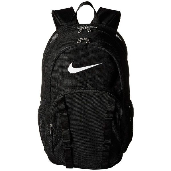 Nike Brasilia 7 Backpack Mesh XL (Black/Black/White) Backpack Bags (£37) ❤ liked on Polyvore featuring bags, backpacks, nike, backpack bags, mesh zipper bag, clear zip bags and nike backpack