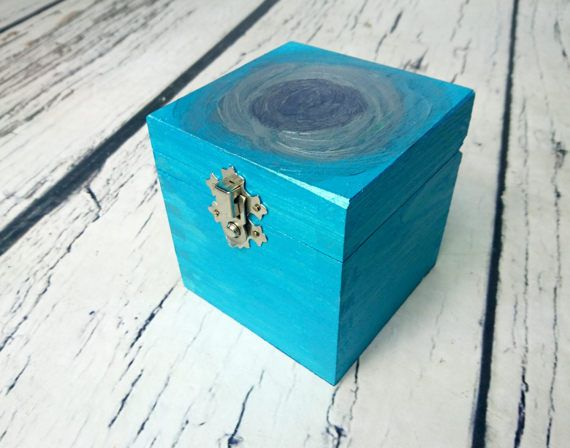 Small blue silver metalic shimmering Trinket box by MKedraHandmade
