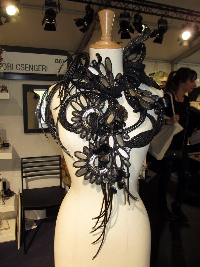 Dori's haute couture Fleur du Mal leather & metal necklace as seen at the Premiere Classe Tuileries show in Paris. #DoriCsengeri #Paris #hautecouture #statementnecklace #fashion #leather