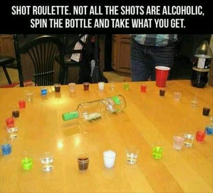 You fill the shot glasses with different things ( Vodka, pepsi, firewater, mt.dew, anything.) and mix them up so you dont know which shot glasss is which, you spin the bottle and take the shot.   @Danielle King