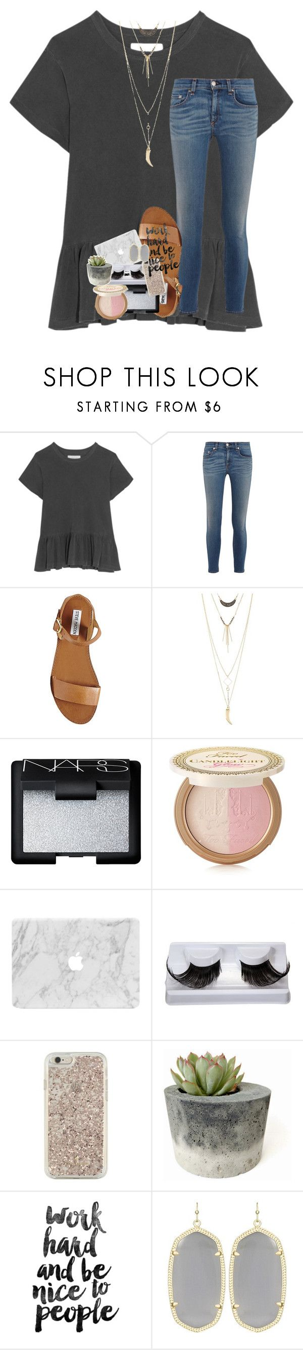 """push and pull like a magnet do"" by lindsaygreys ❤ liked on Polyvore featuring The Great, rag & bone, Steve Madden, Charlotte Russe, NARS Cosmetics, Too Faced Cosmetics, Kate Spade and Kendra Scott"