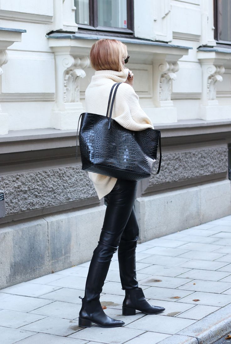 Leather and knit. #minimalistic #streetstyle #fashion