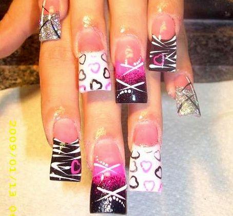nail art designs for acrylic nails | Cute Hearts And Stripes Nail Art Design Nail Art Design From « subno ...