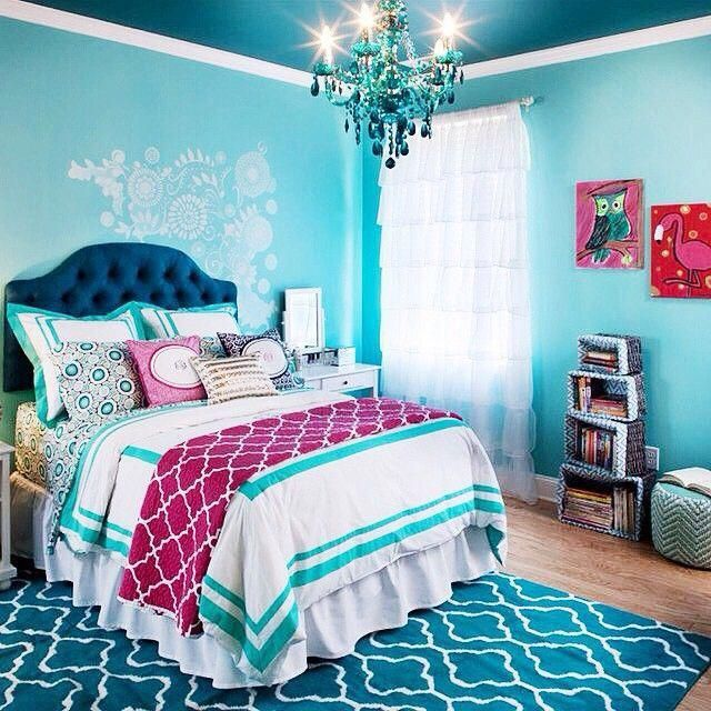 What a beautiful break from all that pink while still staying feminine! super cute girls bedroom // love the navy and the turquoise! #Teengirlbedroomideas