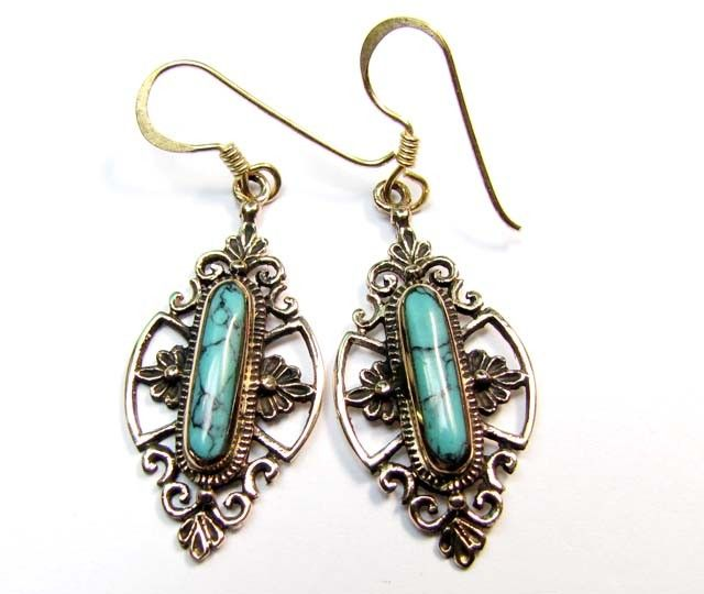 BRONZE TURQUOISE EARRINGS RT 275  NATURAL TURQUOISE GEMSTONE EARRINGS GEMSTONE  , FROM GEMROCKAUCTIONS.COM