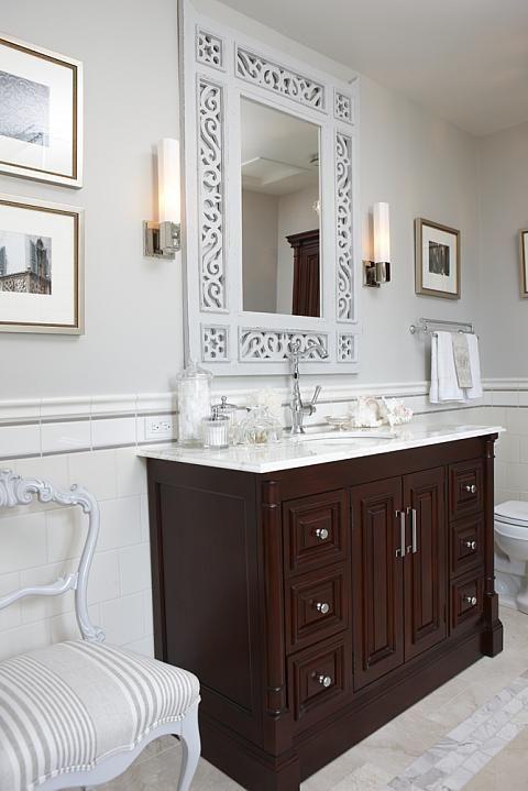 Sarah richardson sarah 101 ensuite bathroom neutral vanity for Grey bathroom suite ideas