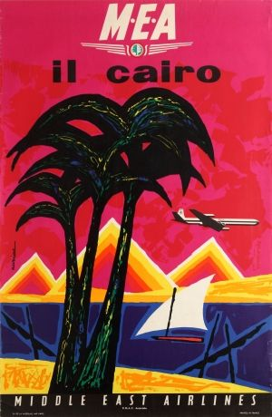 Cairo Middle East Airlines MEA Jacques Auriac 1960s - original vintage travel advertising poster by Jacques Auriac listed on AntikBar.co.uk