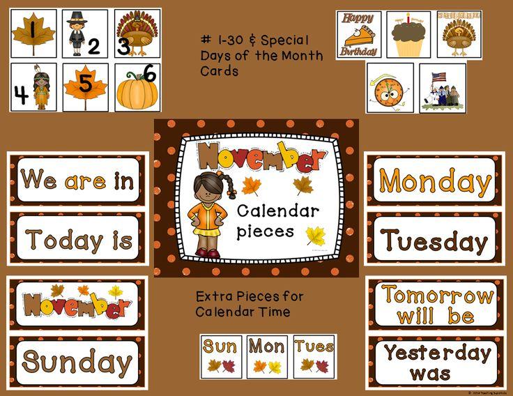November Pocket Chart Calendar Numbers Homeschool Creations