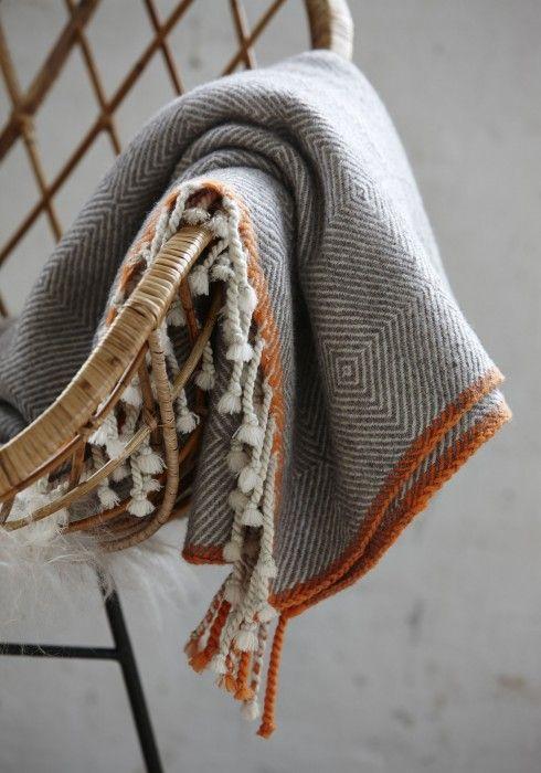 Plaid with orange edge | Hubsch Interior | AtNo67 Concept Store