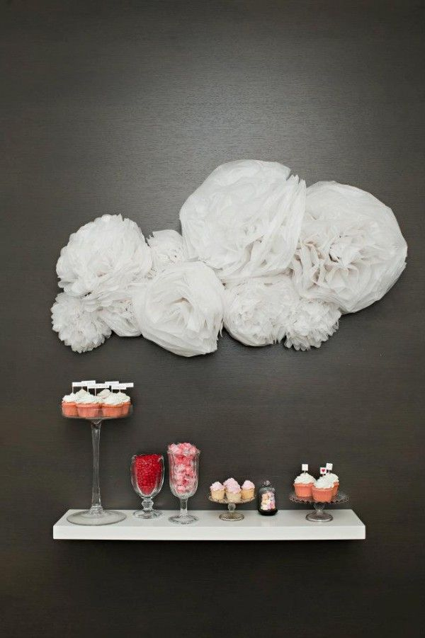 dessert bar on a floating shelf with cloud detailing // photo by Vasia-Weddings.com