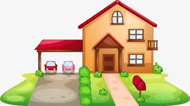 hand painted pattern cartoon house garage  cartoon  hand