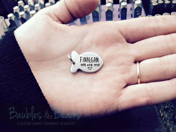 Cat Collar Charm / Name Tag - Personalized Fish Charm - ID Tag For New Pet - New Kitten Gift - Phone Number Pet Charm - Engraved Cat Tags