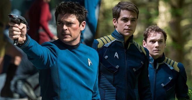 Star Trek Beyond - Bones (Karl Urban), Kirk (Chris Pine) & Chekov (Anton Yelchin)