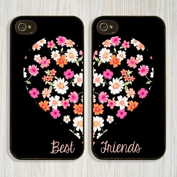 Best Friend, Floral Heart, Matching case available in iPhone 4/4s 5/5s 5c and Galaxy s4, designed and created by CellShells. Cellphone accessories, Cellphone cases.