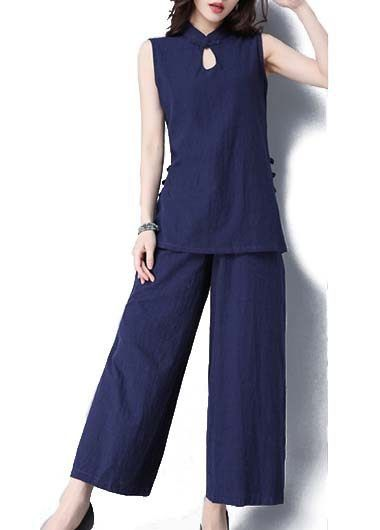 Keyhole Neckline Navy Blue Top and Elastic Waist Pants on sale only US$43.48 now, buy cheap Keyhole Neckline Navy Blue Top and Elastic Waist Pants at modlily.com