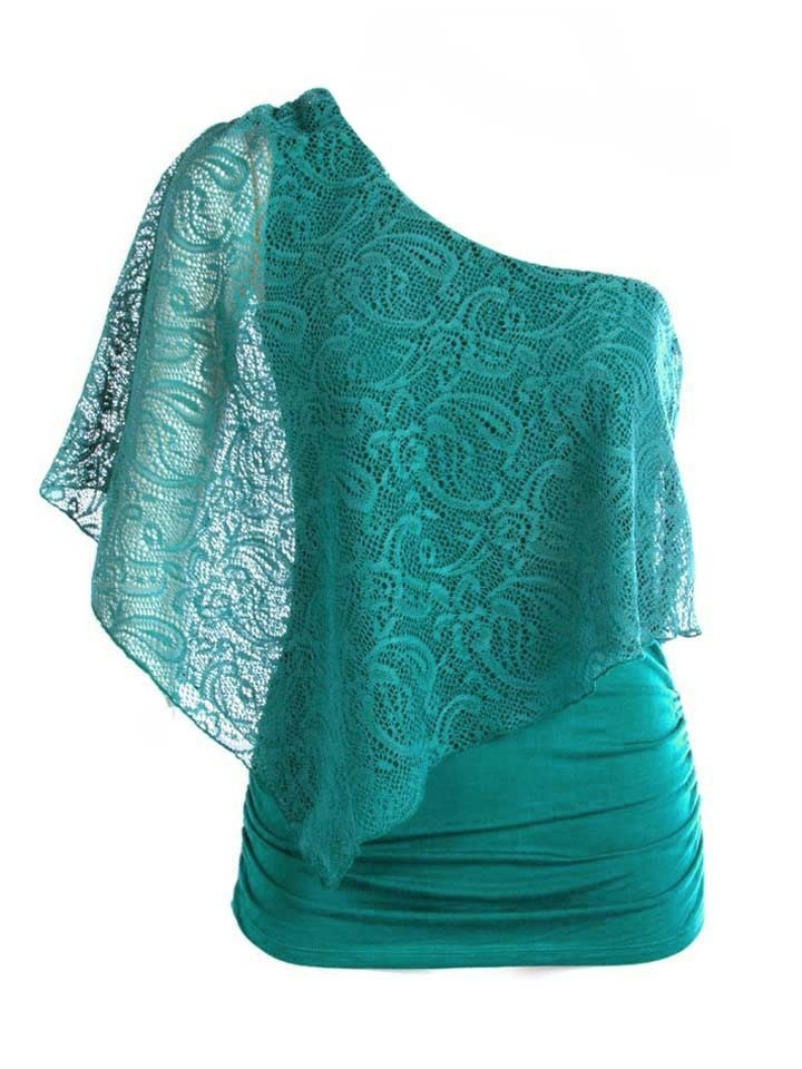 Love the shape, though maybe with the under burnt orange with a brown overlay...Fashion, Lace Tops, Clothing, Closets, Oneshoulder, One Shoulder, Blue Lace, Lace Overlay, Shoulder Tops