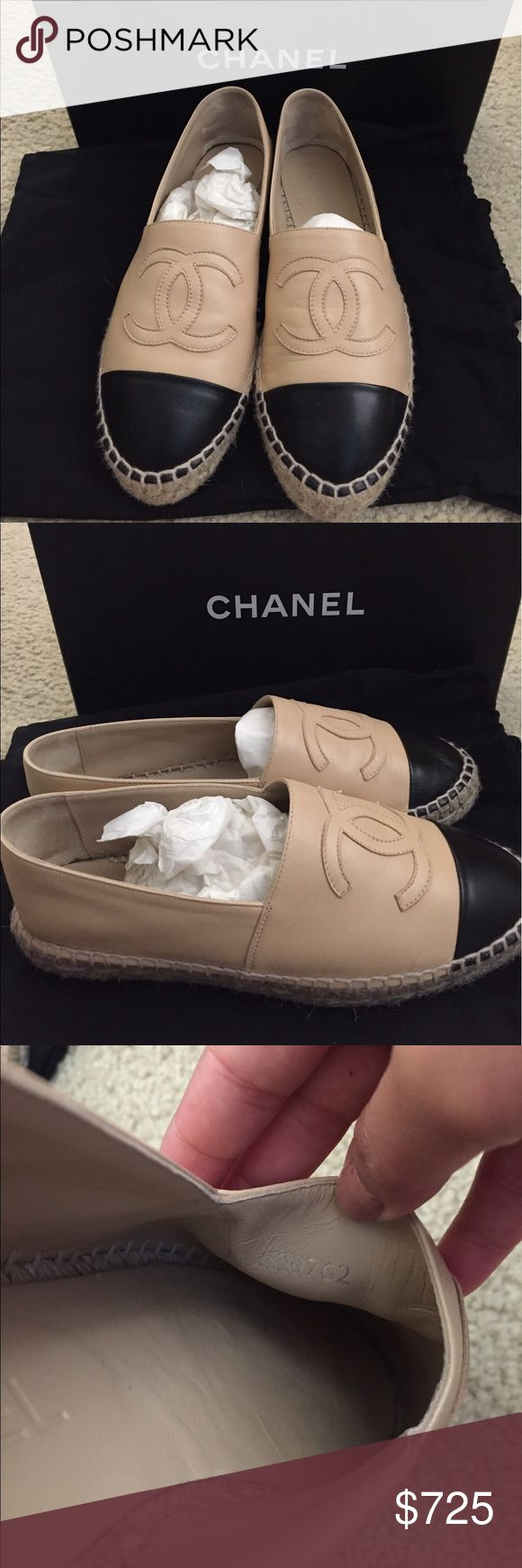chanel espadrilles authentic chanel espadrilles bought from neimans only used couples of time for my florida trip. price is firm no trades i wont respond if you accept. comes with box dust cloth no returns know your chanel size this is europe size. CHANEL Shoes Espadrilles