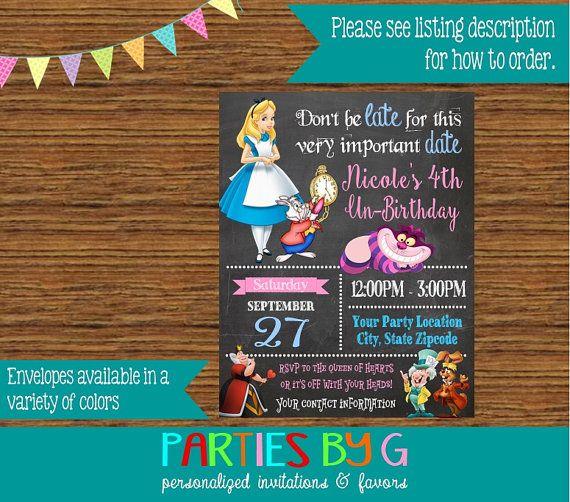 Alice in Wonderland Chalkboard Birthday Party Invitations Invites Personalized Custom