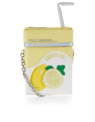 Bring a fresh squeeze of flavour to your look with our novelty lemonade carton across-body bag, designed with a 3D straw appliqué, embroidered lemons and an adjustable shoulder strap.