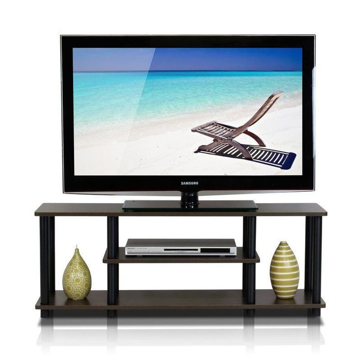 42 Inches Television Stand Black Brown Shelf Storage Wood Living Room Furniture