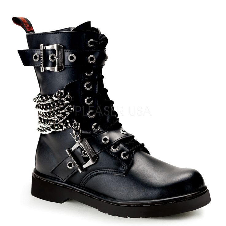 Demonia Defiant 204 is a men's 10-eyelet mid-calf combat boot featuring chains and buckle embellishments and a full inside zipper. Fit: True to Size Size Run: Men's 4-14 [icon-new-always]