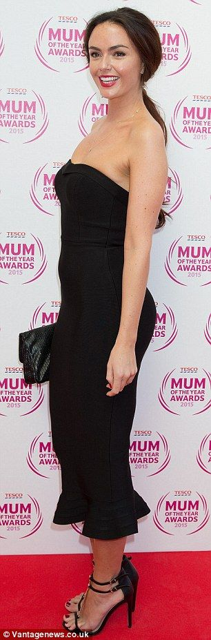 Black to basics: The brunette beauty wowed as she arrived in a form-fitting black straples...