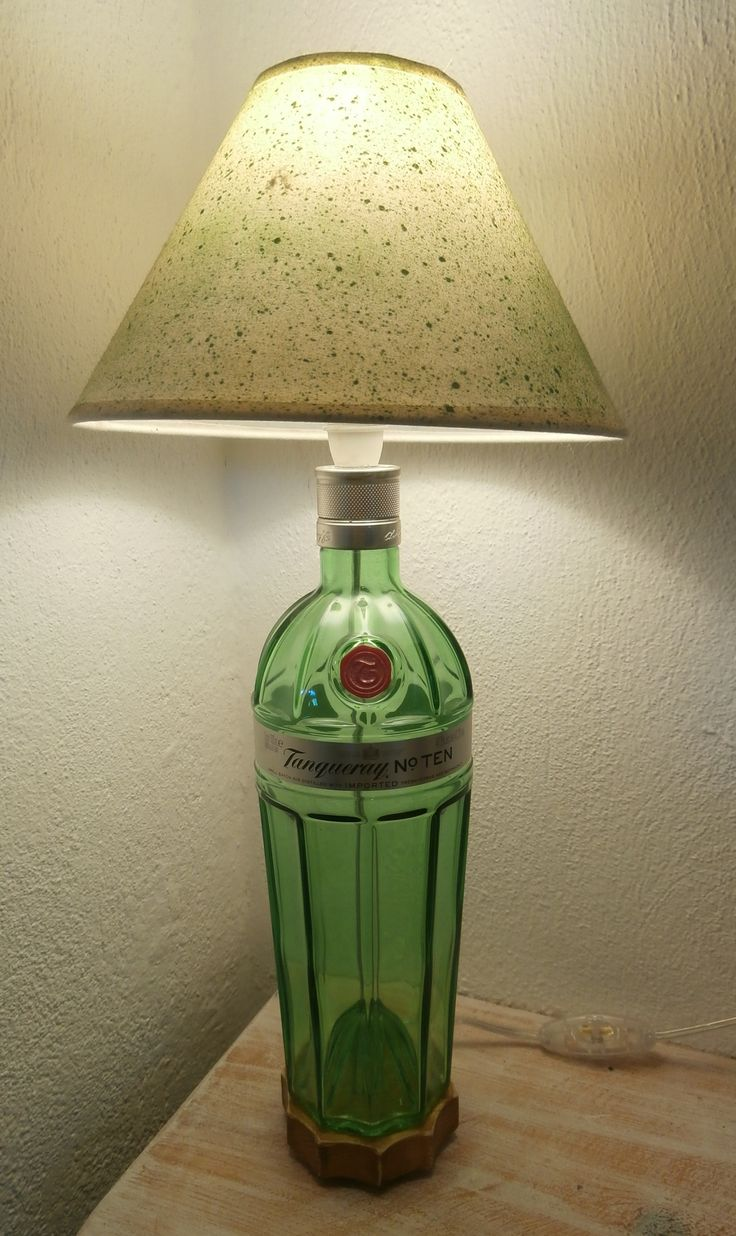 Tanquerray gin bottle, upcycled to make a gorgeous bottle lamp, by The Craft-e-Art Company