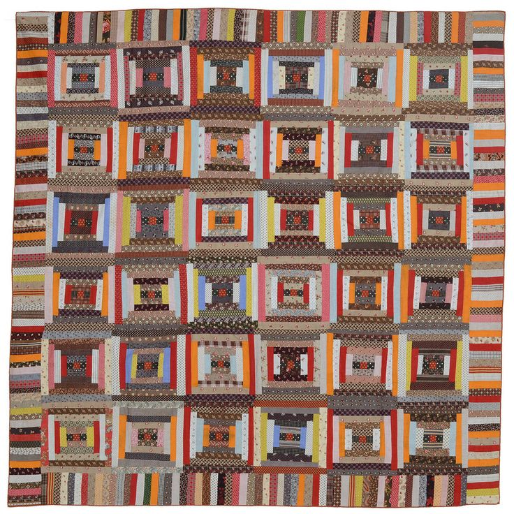 1stdibs Cotton Courthouse Steps Log Cabin American Quilt