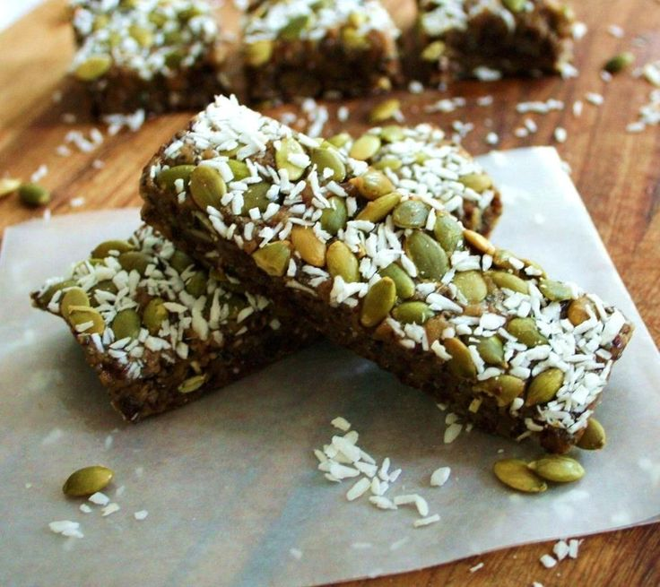 Add 1/2 c dates, vanilla, salt, ground flax seed, YUM!  Combine pepitas and coconut in at end. Does not stick to top.