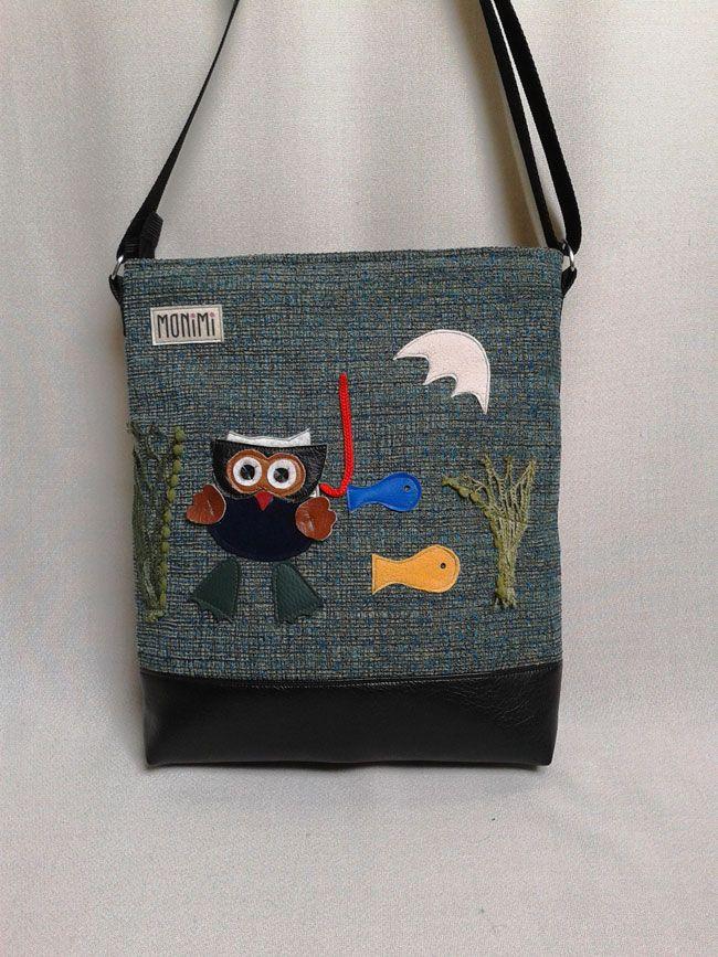 Cukibagoly búvárkodni indul ezen a táskán! Saját tervezésű mintát applikáltam erre a türkiz, jó tartású szövetanyagra. Összesen 6 darab készült belőle. Nagyon egyedi, vicces és szeretni való darab! Bagolyimádók előnyben! Cross-bag női #táska #bagoly