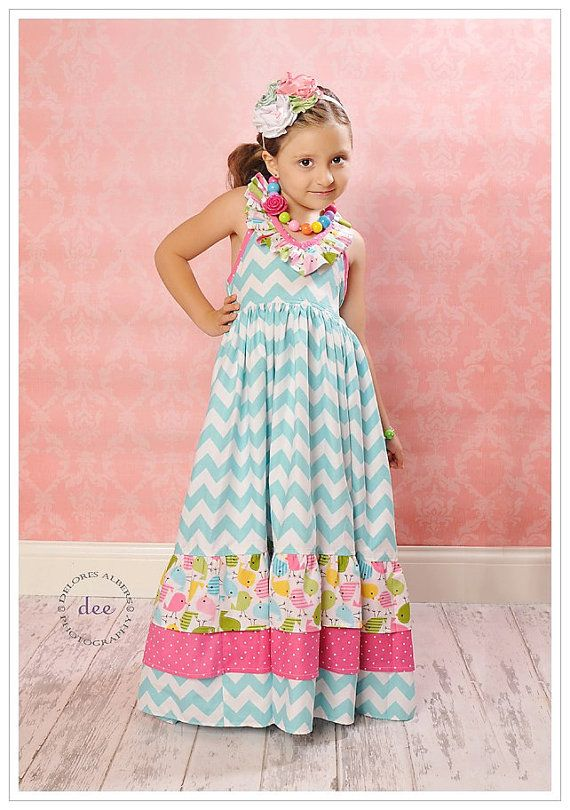 Girls Bird's-The-Word Chevron Summer Maxi Halter Top Dress Sizes 6 months - 10 yrs