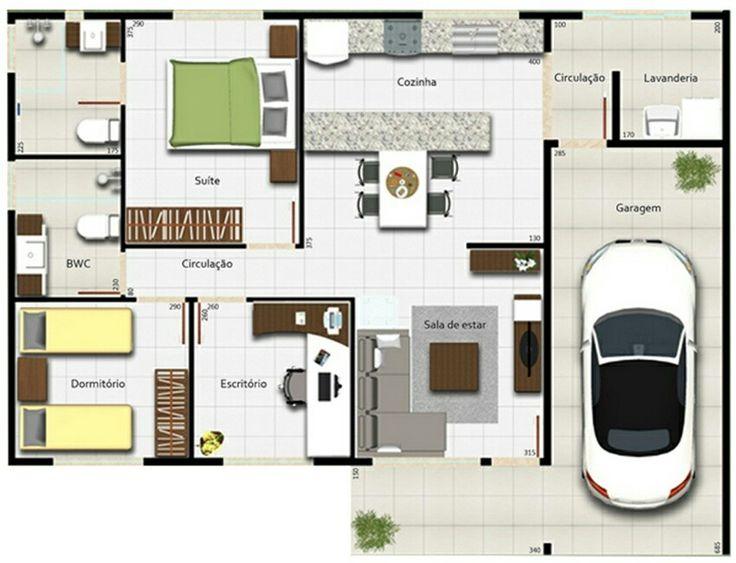 Casa 2 quartos e escritorio