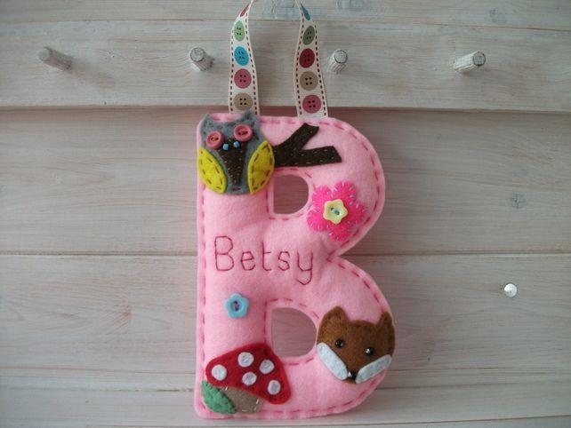 Personalised Large Felt Letter Bedroom-Nursery-Playroom-Hangers - Woodland Theme £8.00