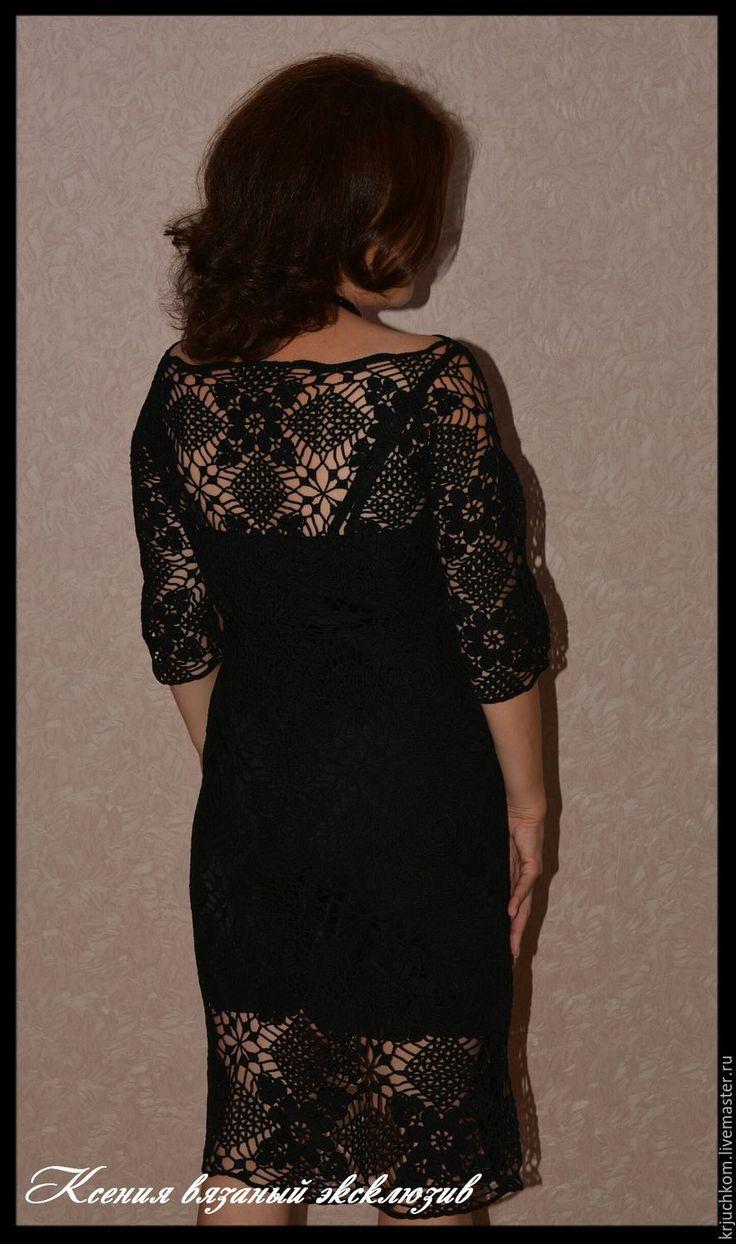 """Купить Платье вязаное""""Чёрная лава"""" - черный, вязаное платье крючком, вязаное платье, черное платье"""