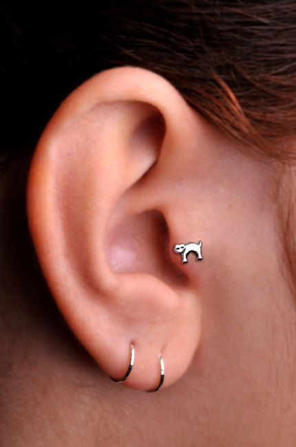 CAT / TRAGUS /  Cartilage stud / Ring / Sterling Silver. Handcrafted on Etsy, $11.95