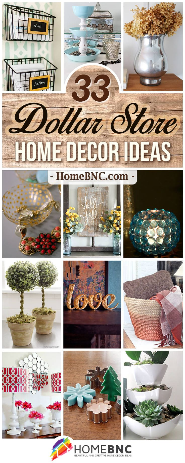 33 Impressive DIY Dollar Store Home Decor